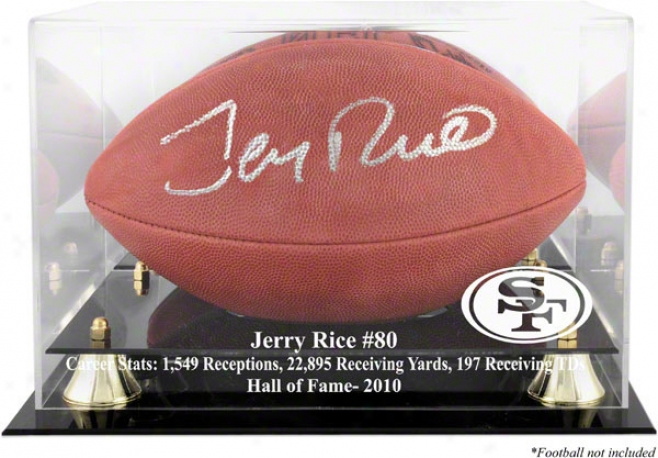 Jerry Rice San Francisco 49ers 2010 Hall Of Fame Golden Classic Football Case And Miror Back