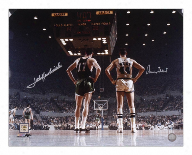 Jerry West And John Havliccek Dual Autographed 16x20 Photo