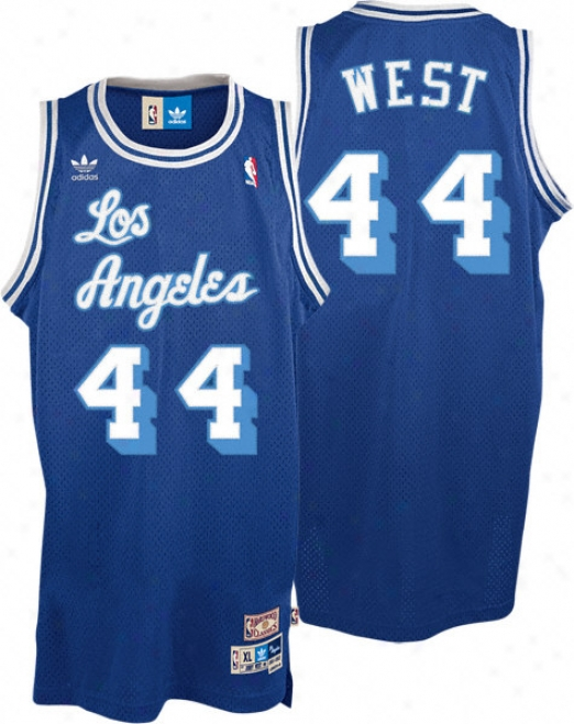 Jerry West Jersey: Addas Blue Throwback Swingman #44 Los Angelse Lakers Jersey
