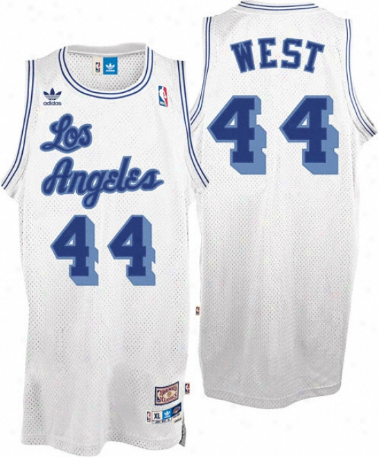 Jerry Western Jersey: Adidas White Throwback Swingman #44 Los Angeles Lakers Jersey