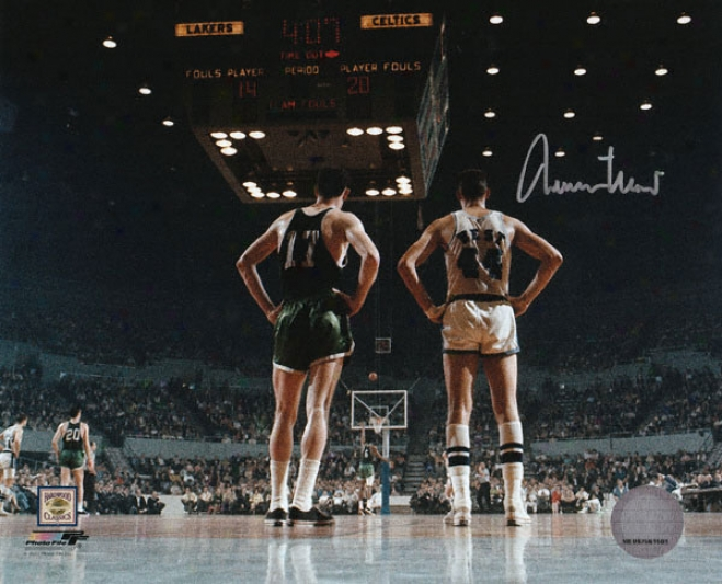 Jerry West Los Angeles Lakers Autographed 8x10 Vs. Boston Celtics Photo