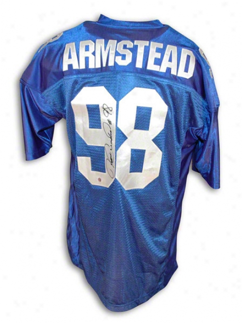 Jesse Armstead Autographed New York Giants Blue Jersey