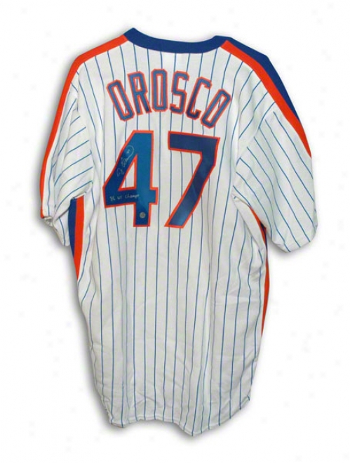 Jesse Orosco Autographed New York Mets White Pinstripe Majestiv Jersey Inscribed &quot86 Ws Champs&quot