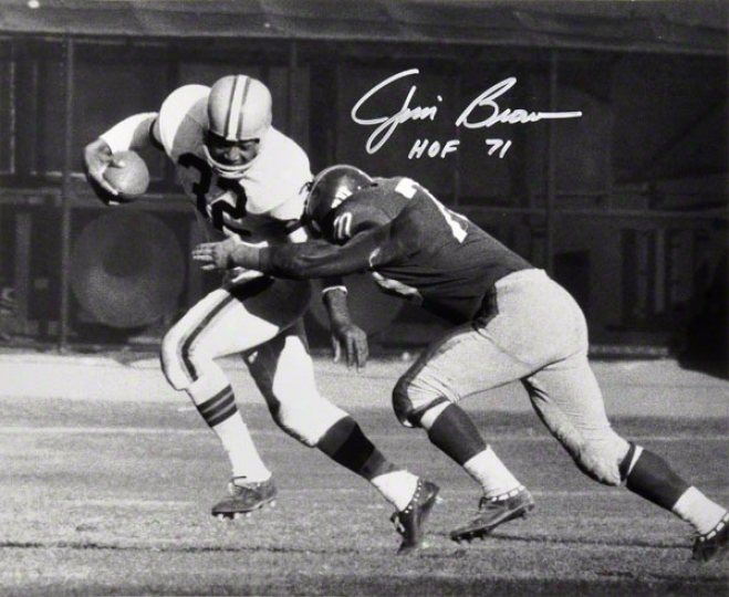 Jim Brown Autographed 16x20 Photograph  Details: Cleveland Browns Autographed, Black And White, Tackled, In the opinion of &quothof 71&quot Inscription