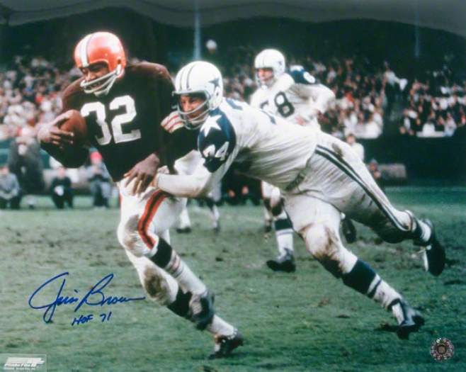 Jim Brown Cleveland Browns - Action1 - 16x20 Autographed Photograph With Hof 71 Inscription