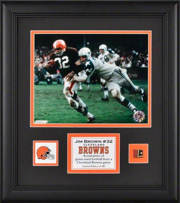 Jim Brown Framed 8x10 Photoograph  Dettails: Cleveland Browns, With Courageous Used Football Piece And Descriptive Plate