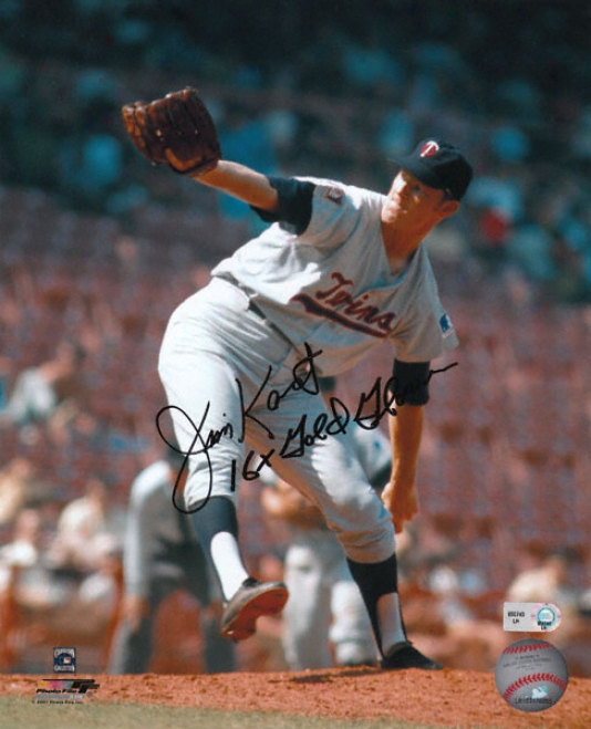 Jim Kaat Minnesota Twins Autographed 8x10 Photograph With 16x Gold Gloves Inscription