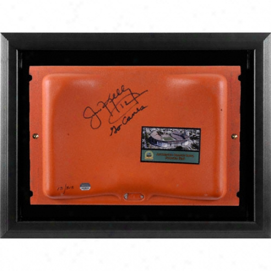 Jim Kelly Autographed Orange Bowl Seat In Black Framed Shadowbox With Go Canes Inscription