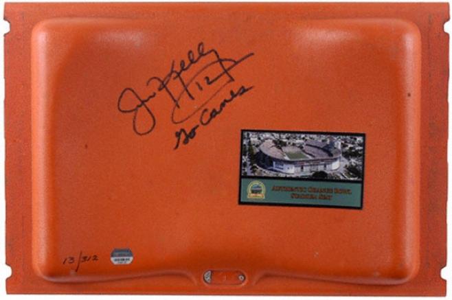 Jim Kelly Autographed Orange Bowl Seat With Go Canes Inscription