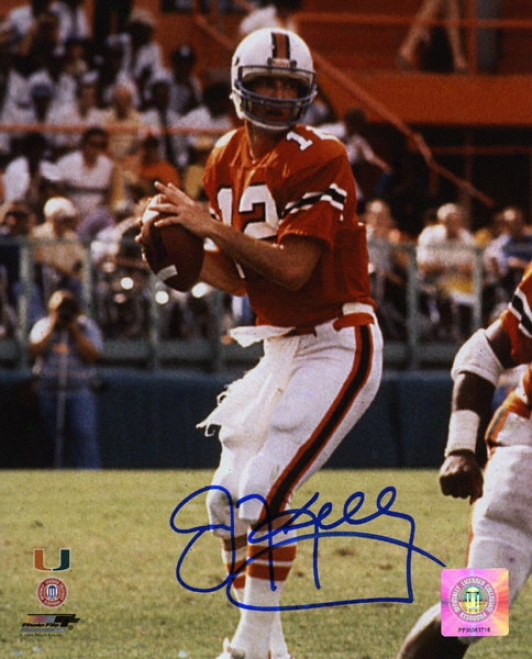 Jim Kelly Miami Hurricanes Autographed 8x10 Photograph