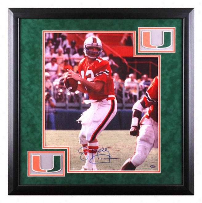 Jim Kelly Miami Hurricanes Deluxe Framed Autographed 16x20 Photograph With Team Logo