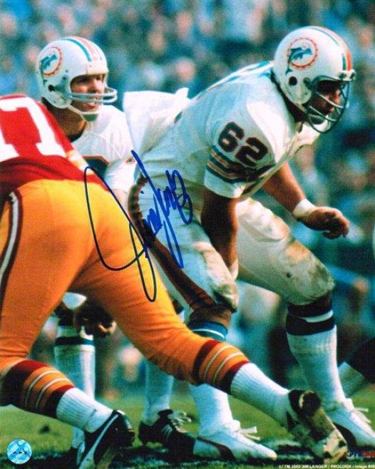 Jim Langer Autographed Miami Dolphins 8x10 Photo