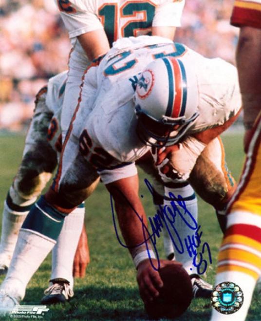 Jim Langer Miami Dolphins 8x10 Autographed Photograph