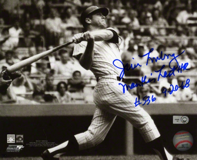 Jim Lonborg Autographed Photograph  Details: Boston Red Sox, 8x10, Mantle Lastt Hr Inscription