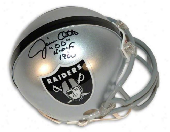 Jim Otto Autgoraphed Oakland Raiders Mini Helmet Inscribed &quothof 00&quot