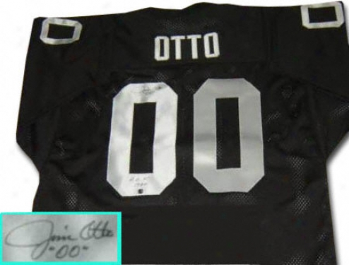 Jim Otto Oakland Raiders Autographed Throwback Black Jersey With Hof Inscription
