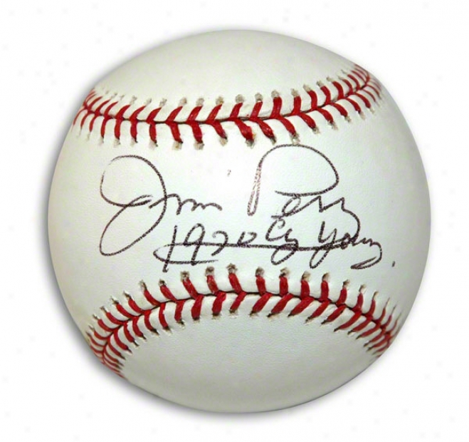 Jim Perry Autgraphed Baseball Inscribed 1970 Cy Young