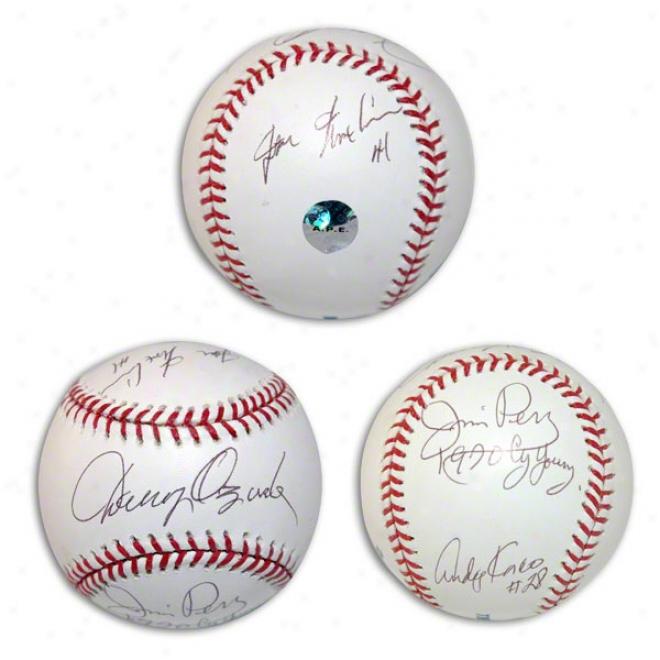 Jim Perry, Danny Ozark, Andy Kosco & Joe Nuxhall Autographed Baseblal
