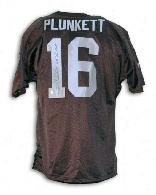 Jim Plunkett Oakland Raiders Autographed Mourning Throwback Jersey Inscribed Sb Xv Mbp