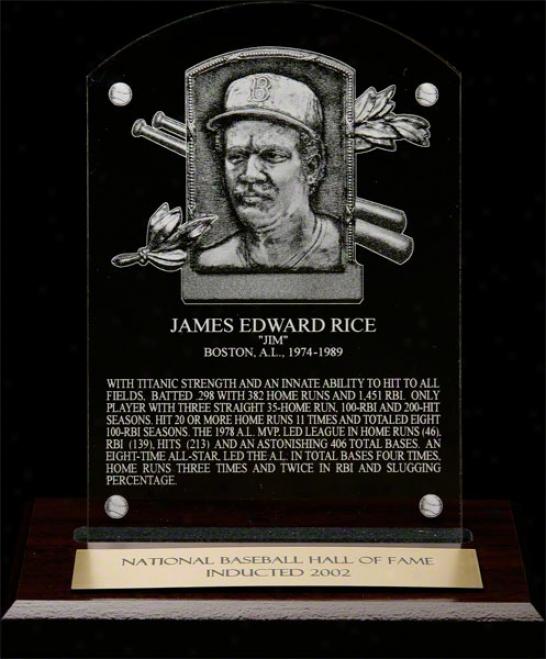Jim Rice Hof Plaque Etched Acrylic Desk Top Plaque