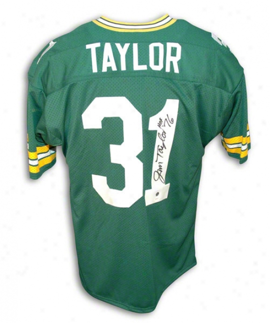 Jim Taylor Autobraphed Green Bay Packers Green Throwback Jersey Inscribed &quothof 76&quot
