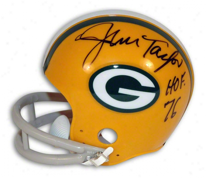 Jim Taylor Autographed Green Bay Packers Mini Helmet Indcribed &quothof 76&quot