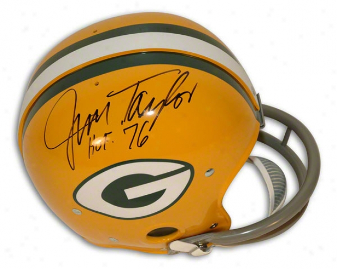 Jim Taylor Autographed Pro-line Helmet  Details: Green Bay Packers, Nfl Rk Throwback, Inscribed &quothof 76&quot, Authentic Riddell Helmet