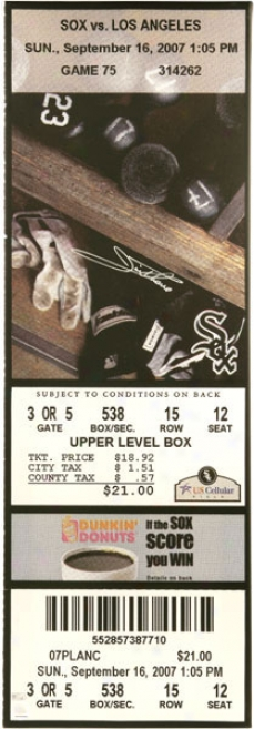 Jim Thome Chicago White Sox - 500th Hr Game Sept 16th 2007 - Autographed Mega Ticket