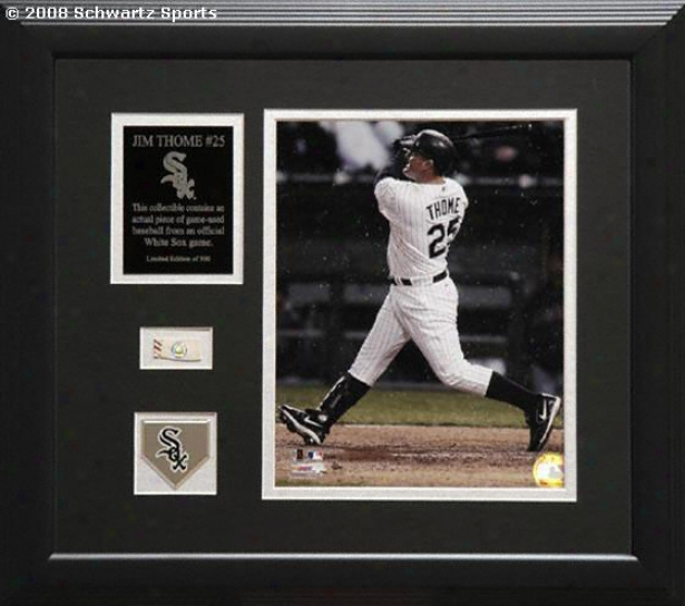 Jim Thome Chicago White Sox - Framed 8x10 Photograph Piece With Ball & Medallion