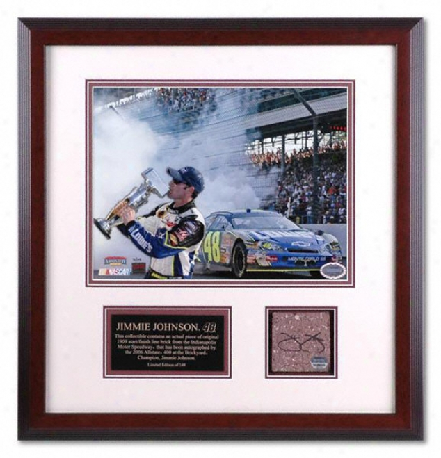 Jimmie Johnson - 2006 Brickyard - Framed 11x14 Photograph With Autographed Brick Piece