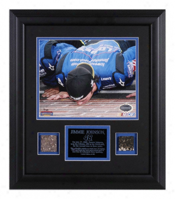 Jimmie Johnson - 2008 Allstate 400 - Framed 8x10 Photograph With Brick And Track Pieces