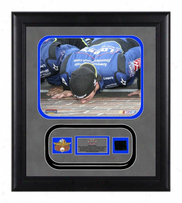 Jimmie Johnson - 2008 Brickyardã'â - Framed 8x10 Photograph With Ims Pin, Indianapklis Motor Speedway Brick And Authentic 2008 Race Used Tire - Le Of 2009
