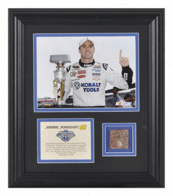 Jimmie Johnson 2009 Brick Three feet 400 Framed 6x8 Photograph With Piece Of Indianapolis Motor Speedwayã'â® 1909 Brick - Le Of 400