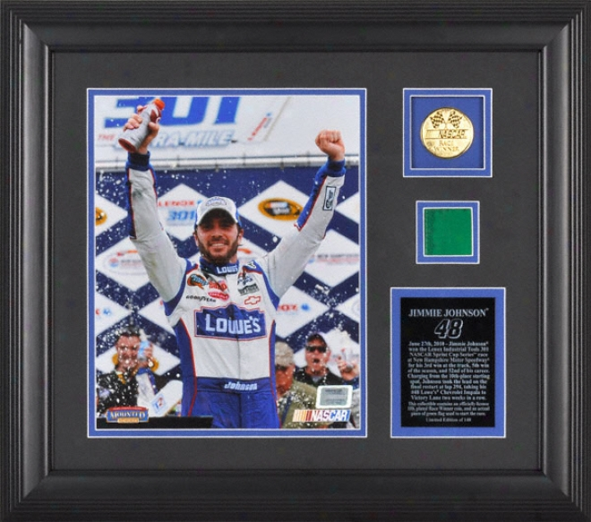 Jimmie Johnson 2010 New Hampshire Motor Speedway 8x10 Photograph With Race Winner 10k Gold Coin And Green Flag - Liited Edition Of 148