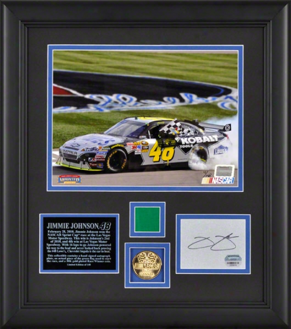 Jimmie Johnso n2010 Shelby American Framed 8x10 Photograph With Autograph Card, Race Winner 10k Gold Coin And Green Flag - L E Of 148