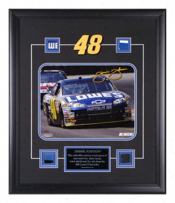 Jimmie Johnson Framed 11x14 Photograpph With Four Race Parts