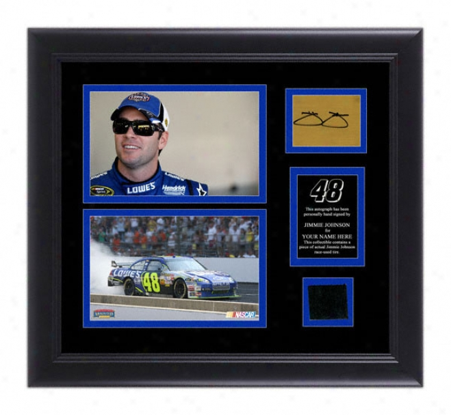 Jimmie Johnson Framed 5x7 Photographs With Autographed Card/race Be fatigued And Personalized Nameplate