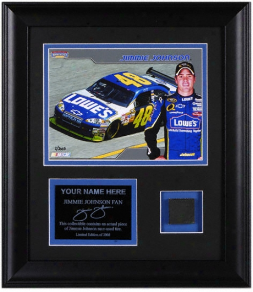 Jimmie Johnson Framed 6x8 Photograph With Race Tire And Personalized Nameplate