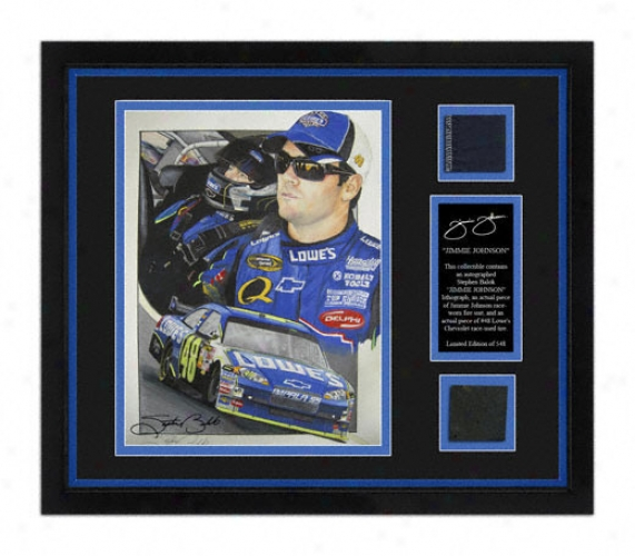 Jimmie Johnson Framed 8x10 Lithograph With Suit, Tire And Artist Signature