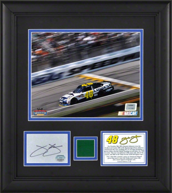 Jimmie Johnson Framed 8x10 Photograph  Details: 2011 Hollywood Casino 400 Victory At Kansas Speedway, With Autogdaph Card And Green Flag - Limited Edition Of 14