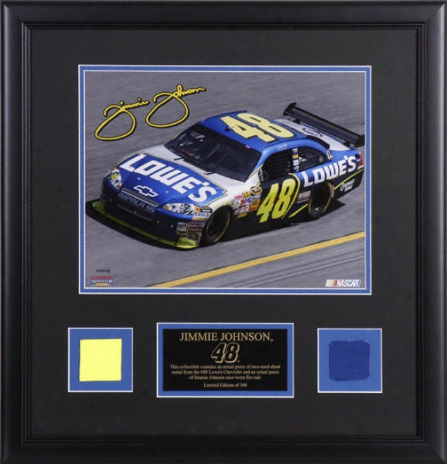 Jimmie Johnson Framed Laserchrome 11x14 Photograph With Sheet Metal And Suit Piece