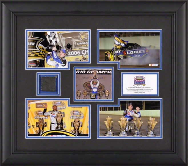 Jiimmie Johnson Framed Photograph  Details: Five Time Sprint Cup Champiin, 5-photograph Collage - Limted Edition Of 555