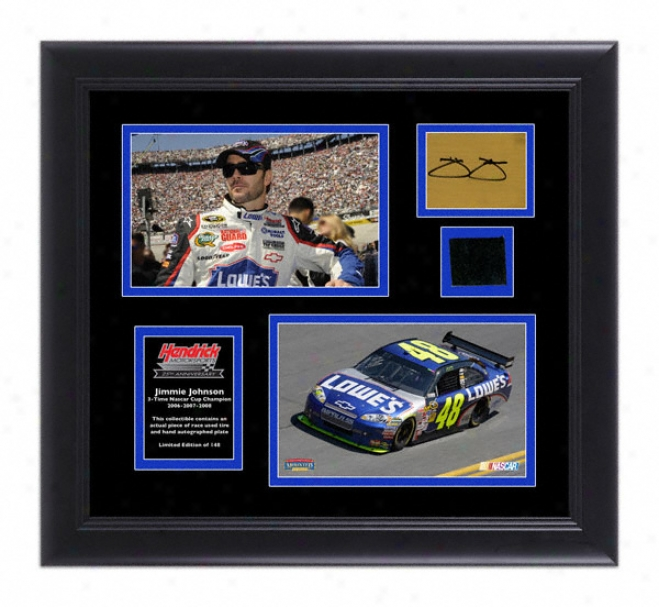 Jimmie Johnson Hendrick Motorsports 25th Anniversary Framed Photographs With Race Used Tire And Autographed Plate