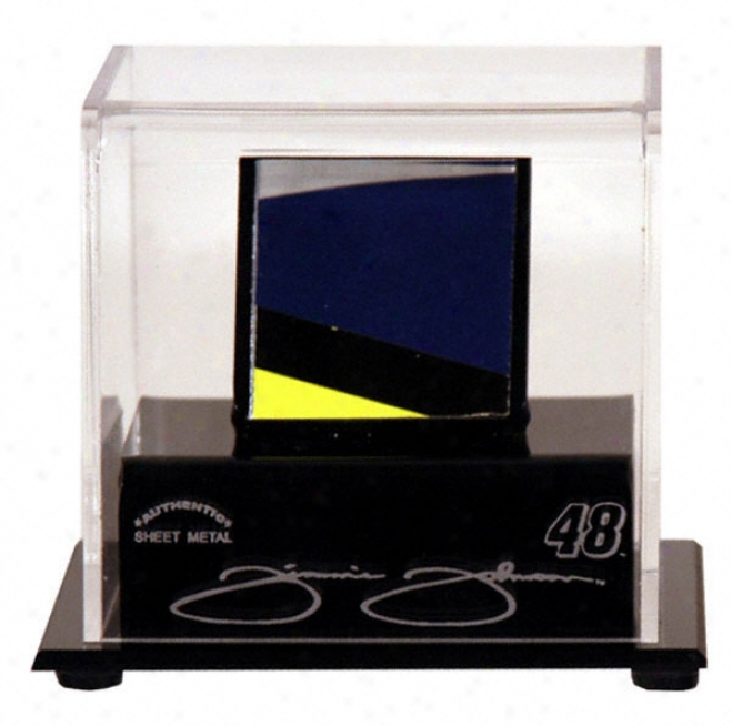 Jimmie Johnson Logo Display Case With Race Used Metal Piece