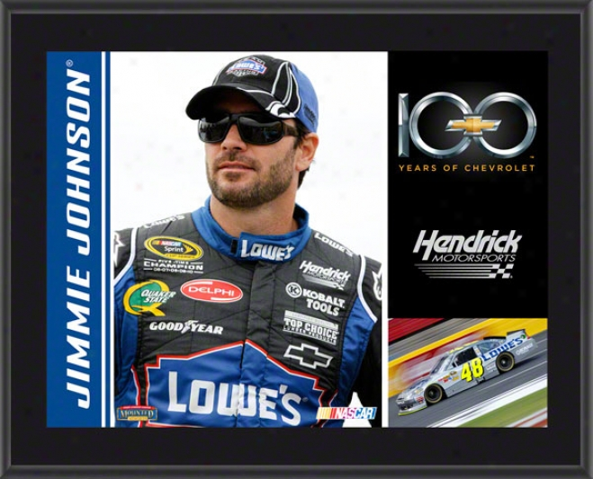 Jimmie Johnson Plaque  Detqils: Chevrolet 100th Anniversary, Hendrick Motorsports, Sublimated, 10x13, Nascar Plaque