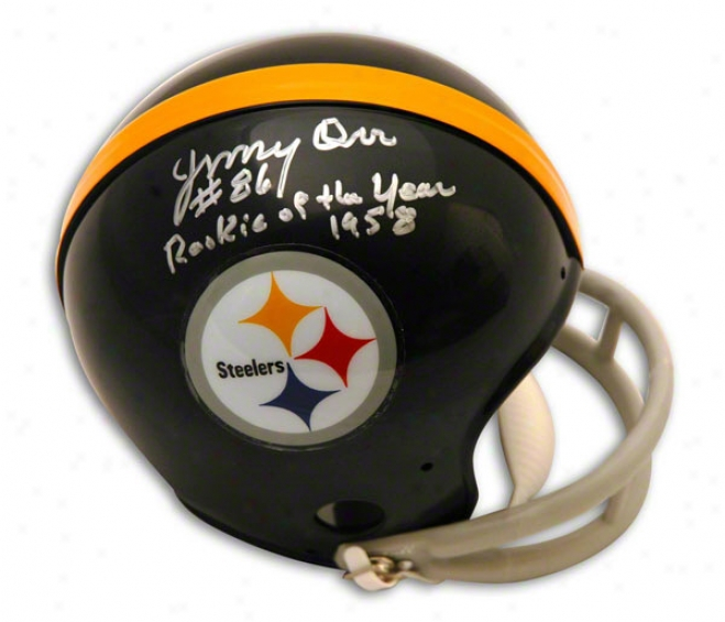 Jimmy Orr Autographed Pittsburgh Steelers Mini Helmet Inscribed Rookie Of The Year 1958