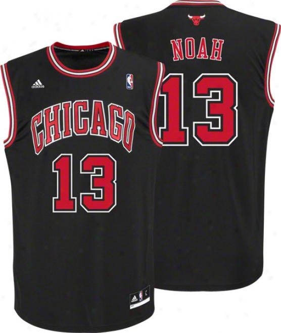 Joakim Noah Jersey: Adidas Revolution 30 Black Replica #13 Chicago Bulls Jersey