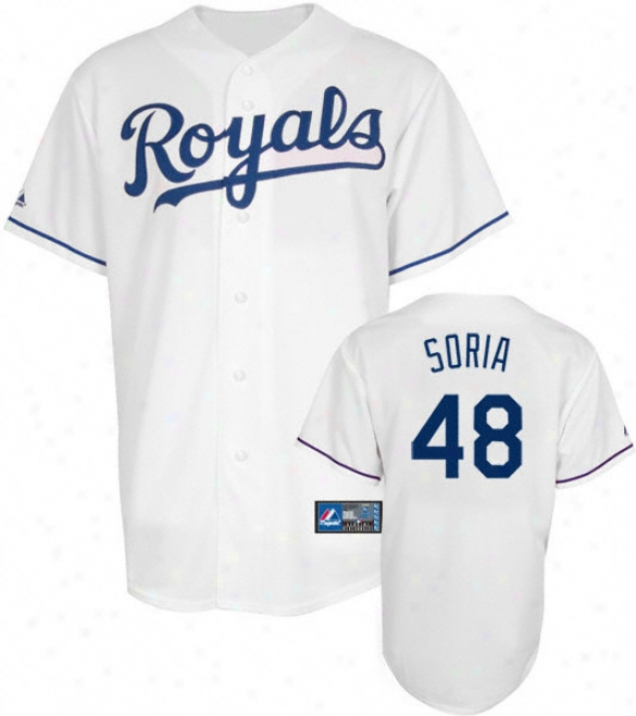 Joakim Soria Jersey: Adult Majestic Home White Autograph copy #48 Kansas City Royals Jersey