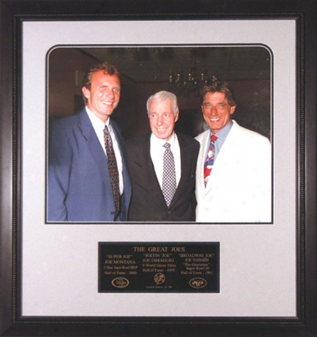 Joe Dimaggio, Joe Montana And Joe Namath - Three Great Joes - Framed 16x20 Unsigned Photograph With Nameplate