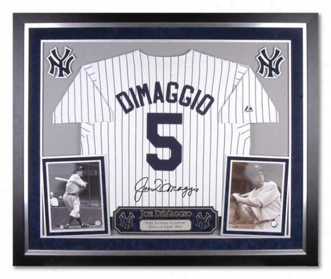 Joe Dimaggio New York Yankees Delux Framed Majestic Cooprrstown Jersey